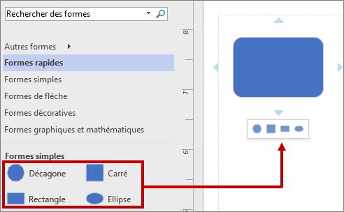 Mini-barre d'outils contenant les formes de base par défaut