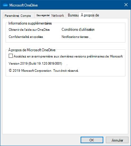 Interface utilisateur de OneDrive