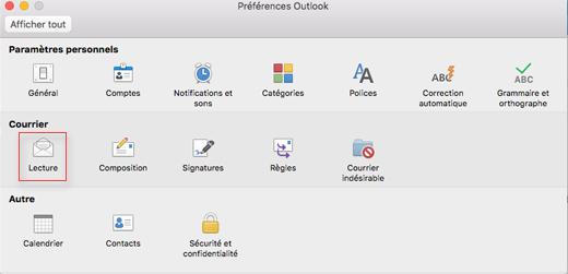 Affichage des préférences Outlook avec l'option lecture sélectionnée