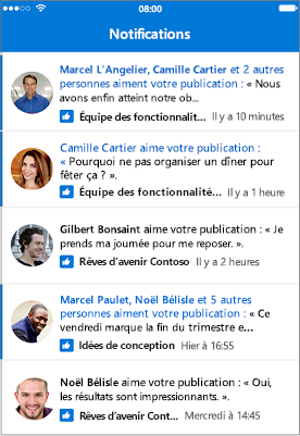 Notifications de l'application mobile Outlook Groups