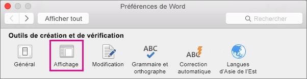 Dans les préférences Word, cliquez sur Affichage pour modifier les préférences d'affichage.