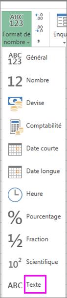 Format texte pour les nombres