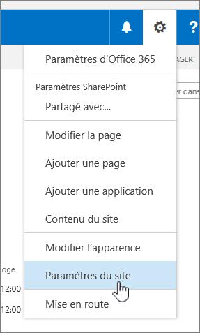 Option de paramètres de site sous le bouton Paramètres