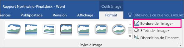 L'option Bordure de l'image est sélectionnée sous l'onglet Format des outils Image