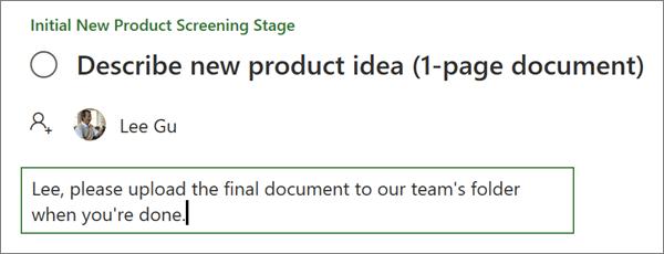 Saisie d'une note dans les détails d'une tâche dans le planificateur