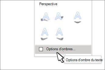 Options d'ombre styles WordArt sélectionnées