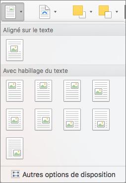Dans le menu Position, sélectionnez la position de l'image ou de l'objet dessin sélectionné par rapport au texte environnant.