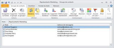 Boîte de dialogue Groupe de contacts