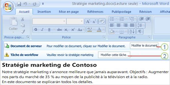 Document ouvert avec deux boutons: Modifier le document et Modifier cette tâche