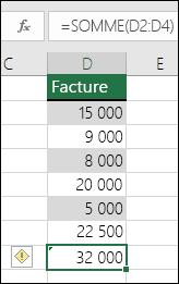 Excel affiche une erreur lorsqu'une formule ignore les cellules d'une plage