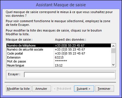 Assistant Masque de saisie dans une base de données Access de bureau