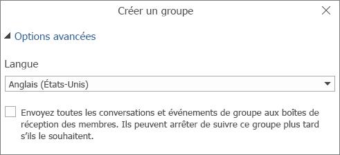 Choisir d'envoyer un courrier de groupe à la boîte aux lettres des utilisateurs