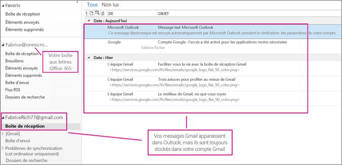 Après avoir ajouté votre compte Gmail, deux comptes s'affichent dans Outlook