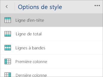 Capture d'écran du menu Options de style avec l'option Ligne d'en-tête sélectionnée