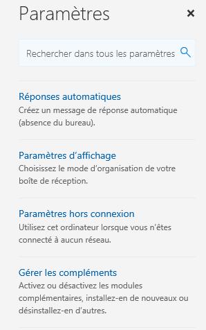 Cliquez sur Gérer les compléments dans le menu Paramètres