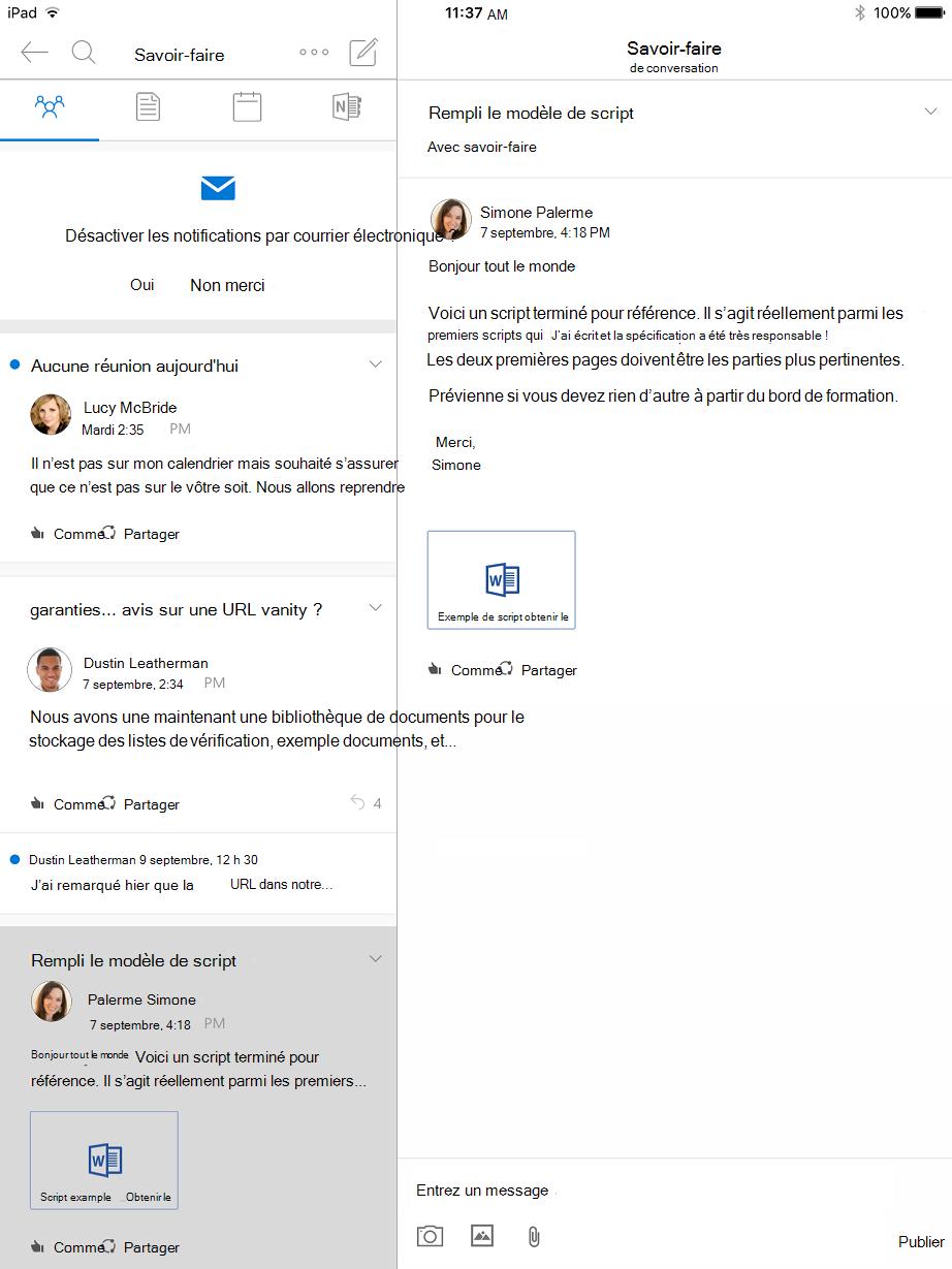 Mode conversation dans Outlook des groupes pour iPad