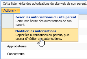 Modifier l'option autorisations dans le menu Actions