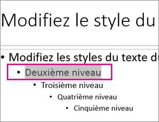 Mise en page du masque des diapositives avec l'option texte sélectionnée