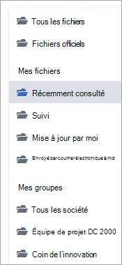 Liste montrant les emplacements des fichiers