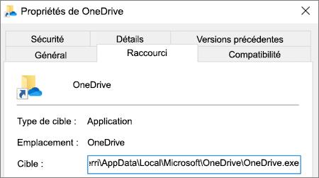 Menu des propriétés de l'application OneDrive