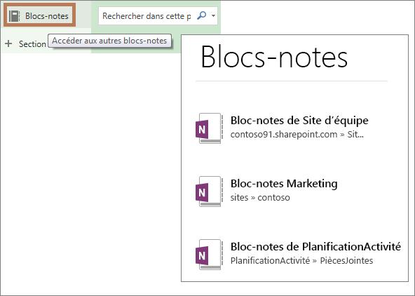 Affichage de la liste des blocs-notes
