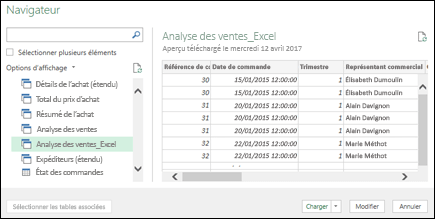 Obtenir & transformation > le volet de navigation de Power Query