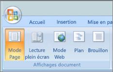 Capture d'écran montre le groupe Affichages Document avec l'option mode page sélectionnée. Autres options disponibles sont lecture plein écran, mode Web, plan et brouillon.