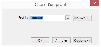 Boîte de dialogue Choix d'un profil
