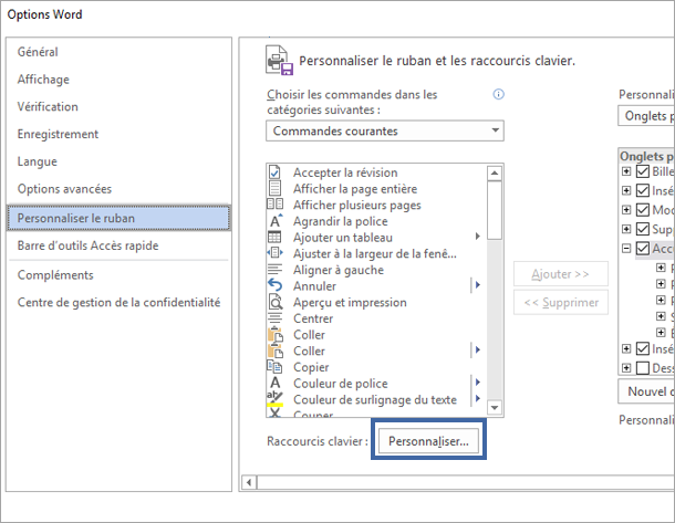 Le bouton Personnaliser la personnaliser le volet de raccourcis clavier et du ruban