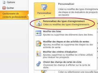 Commande Personnaliser les types d'enregistrement du Gestionnaire de contacts professionnels dans le mode Backstage d'Outlook