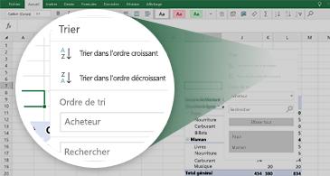 Feuille de calcul Excel avec un tableau croisé dynamique et un zoom sur un ensemble de fonctionnalités disponibles