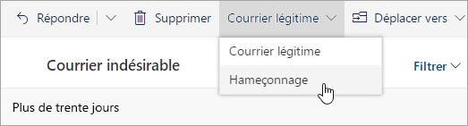 Capture d'écran du menu de courrier non indésirable avec l'option  de hameçonnage sélectionnée.