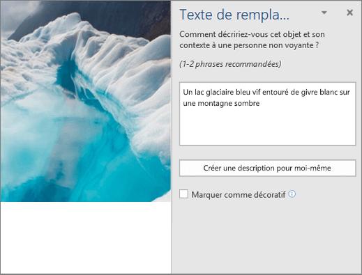 Nouvelle boîte de dialogue Texte de remplacement affichant un texte de remplacement généré automatiquement dans Word