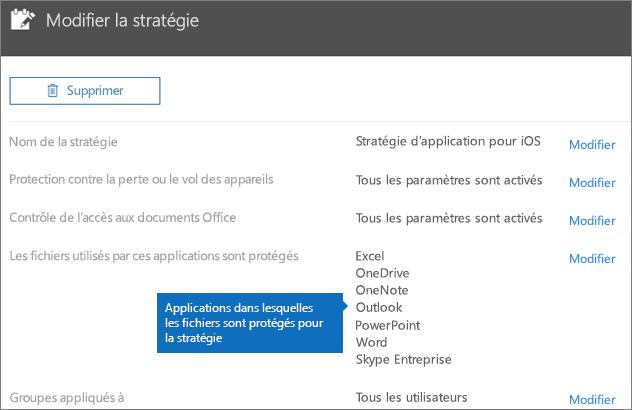 Affiche toutes les applications dont cette stratégie protège les fichiers.