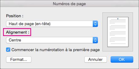 Sélectionner l'alignement de vos numéros de page