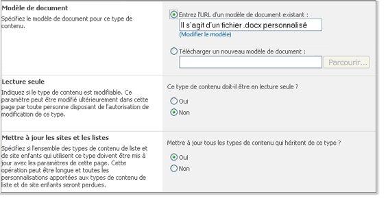 Fenêtre Paramètres avancés du type de contenu de site