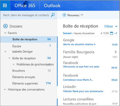 Affichage principal d'Outlook sur le web