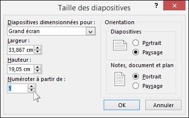 affiche la boîte de dialogue taille des diapositives dans powerpoint