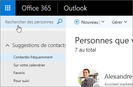 Capture d'écran des contacts, avec la zone Rechercher des contacts sélectionnée.