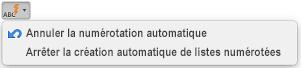 Bouton Correction automatique avec options de numérotation automatique