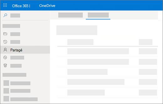 Capture d'écran de l'affichage partagé par moi dans OneDrive entreprise