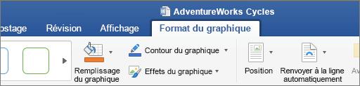 Image SVG sélectionnée, permettant de sélectionner l'onglet Format du graphique dans le ruban