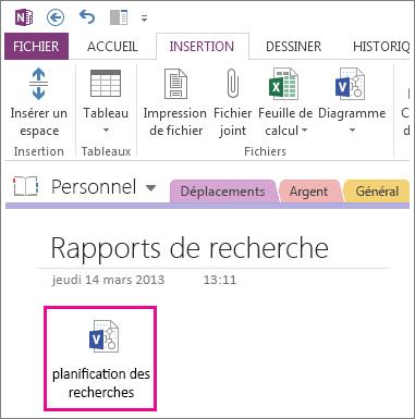 Insérer une icône de fichier Visio sur une page