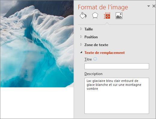 Nouvelle image d'un lac glacé avec la boîte de dialogue Format de l'image avec un texte de remplacement amélioré dans la zone Description.