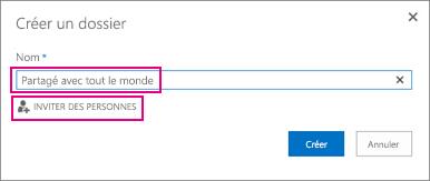 Sélectionnez le dossier Partagé avec tout le monde dans OneDrive.