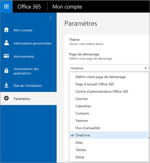 Modifier la page de démarrage d'Office365