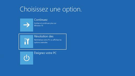 Écran Choisir une option dans l'Environnement de récupération Windows (WinRE).