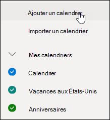 Capture d'écran montrant comment ajouter un calendrier