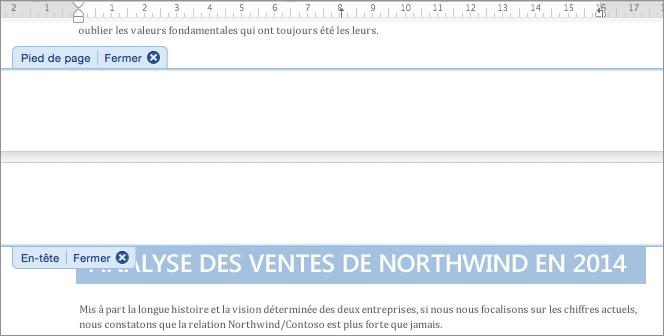 Double-cliquez sur un en-tête ou un pied de page pour l'ouvrir et le modifier.