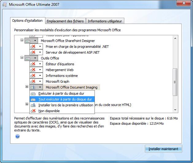 Capture d'écran indiquant l'emplacement de MODI pendant l'installation d'Office System2007: